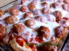 Meatball Sub Casserole***this was delicious, and it serves a crowd! Next time I will probably go the extra mile & make my own meatballs because the store bought ones were the weak link in this recipe, but this is a keeper.