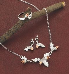 oak leaf/ silver and rose gold