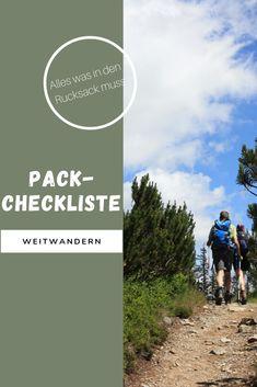 Damit du nichts vergisst haben wir dir eine Checkliste für deine Weitwanderung erstellt.  #weitwandern #rucksack #packen #berge #wandern #österreich Portal, Packing Checklist, Tours, Mountains