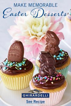 Celebrate Easter Brunch with the Cutest Cupcakes made with Ghirardelli 60% #ChocolateChips and our #Caramel filled Chocolate  Bunnies and Eggs! #aBiteBetter