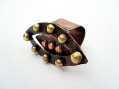 Rocker metal ring copper ring with brass pebbles by BaccaraJewelry, $45.00