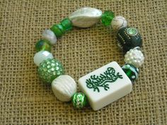 Green Dragon Mahjong Bracelet  - Mahjong Gift - Jesse James Beaded Bracelet by MahjongJewelry on Etsy