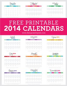 This colorful 2014 calendar will brighten up any wall. Source: Design Eat Repeat