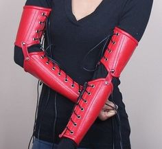 Red Leather Clawed Gloves Gauntlets Armor SCA LOTR LARP Costume Cat Claws