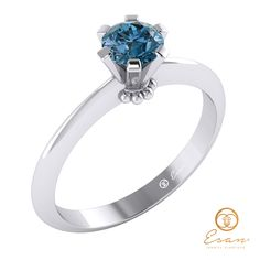 Inel de logodna din aur cu diamant albastru ES27 Aur, Engagement Rings, Jewelry, Fashion, Enagement Rings, Moda, Wedding Rings, Jewlery, Bijoux
