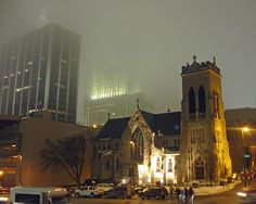 A foggy night in downtown Omaha