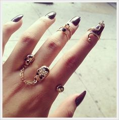 15 Most Amazing ways to use Nail Jewelry Nail Art Nail Jewelry, Jewelry Rings, Jewelry Accessories, Jewellery, Jewelry Box, Ladies Accessories, Jewelry Design, Goth Jewelry, Skull Jewelry