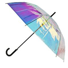 This iridescent umbrella is perfect for a fashionista. Not only is it stylish and fun, it will keep you protected from the elements. The automatic open feature makes it easier and more convenient to use when on the go. Best Umbrella For Wind, Fancy Umbrella, Large Umbrella, Folding Umbrella, Clear Umbrella, Under The Ocean, Cantilever Umbrella, Funny Tattoos, Umbrellas Parasols