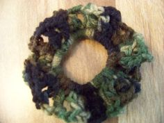Hand Crocheted Hair Scrunchies   Camouflages by acraftylady812