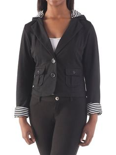 $21.00 GREAT OUTWEAR Removable Hooded Striped Blazer: Dots.com