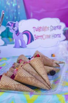 Fruit salad cones at a My Little Pony birthday party! See more party planning ideas at CatchMyParty.com!
