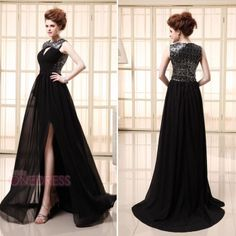 Fashion Chiffon Sequins High-slit Long Black Prom Gown Party Evening Dresses