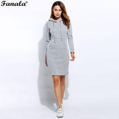 e2574d9148a Winter Dress Women Vestidos Hoodies Sweatshirt Dress 2017 Fashion Hooded  Drawstring Full Sleeves Fleeces Women Dresses Plus Size(China)