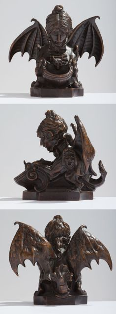 Thiebaut Frères - Encrier Fantastique - A Bronze Inkwell cast from the model Sarah Bernhardt, 1880