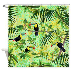Toucans Shower Curtain  Green Tropical Forest  Ornaart by Ornaart, $89.00