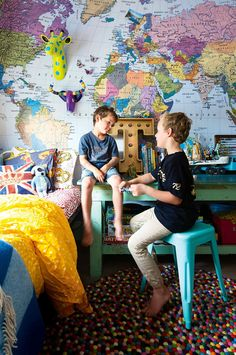kids bedroom world map