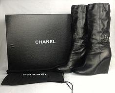 100% Authentic CHANEL Leather BOTTES Boots 38.5 Cap Toe CC Logo Black $1325!!! #CHANEL #Bottes