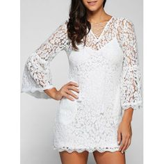 V Neck Flare Sleeve Hollow Out Lace Dress with Cami Dress
