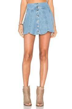 Understated Leather x REVOLVE Scalloped Snap Skirt in Sky Blue
