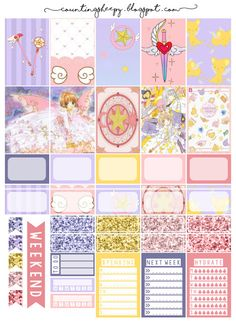 Free Printable Cardcaptor Sakura Planner Stickers from Counting Sheepy