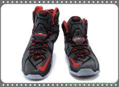 tenis de basket Preto/Branco/Vermelho Nike Lebron 12 684593-468