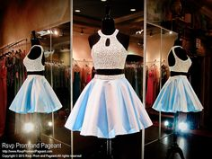In love with this Two Piece short homecoming dress! Its high halter neckline bodice has a keyhole back and is completely covered with white pearls. The powder blue satin skirt also features a waistband covered with same pearls and it's at Rsvp Prom and Pageant, your Atlanta Prom Store!