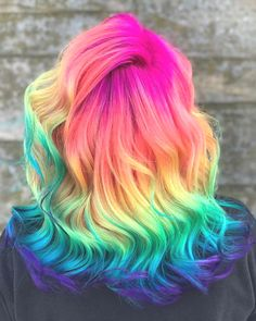 35 Cute And Crazy Hair Color Ideas For Long Hairs - Bafbouf U Cut Hairstyle, Pretty Hairstyles, At Home Hair Color, Cool Hair Color, Hair Colour, Angled Hair, Pelo Multicolor, Hair Dye Colors, Rainbow Hair Colors