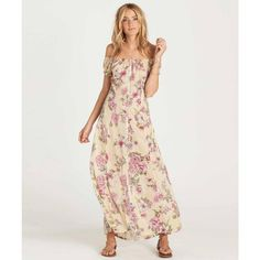 Local Fort Collins store | Billabong Linger Here Dress (Yellow Floral) Apparel Dresses at Blue Harvest