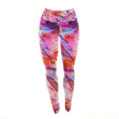 """Ebi Emporium """"Flourish - Pink"""" Purple Magenta Yoga Leggings"""