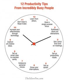 12 Productivity Tips From Incredibly Busy People. I'm an incredibly busy person, but this is great for the seasons I am or will be. Leadership Development, Self Development, Personal Development, Productivity Hacks, Time Management Tips, Motivation, Getting Things Done, Life Skills, Self Improvement