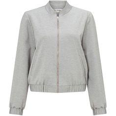 Miss Selfridge Grey Ponte Bomber Jacket ($52) ❤ liked on Polyvore featuring outerwear, jackets, grey, women, miss selfridge, ponte jacket, bomber style jacket, grey jacket and blouson jacket