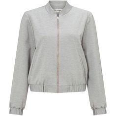 Miss Selfridge Grey Ponte Bomber Jacket ($51) ❤ liked on Polyvore featuring outerwear, jackets, grey, women, grey jacket, bomber style jacket, flight jacket, blouson jacket and ponte jacket