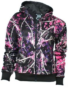 """The Muddy Girl camo line is one of the more popular growing camo lines out there. Drawstring hood (drawstring and inside of hood are Muddy Girl camo). """"Muddy Girl"""" screen print on front chest. Color: White with Muddy Girl Camo Sleeves. Camo Hoodie, Camo Jacket, Hoodie Jacket, Camouflage Jacket, Pink Camouflage, Zip Hoodie, Women's Camo, Black Hoodie, Moon Shine"""