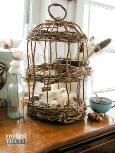 Vintage Grapevine Bird Cage with Nesting Dove ~ Lovely Shabby Cottage Chic Style