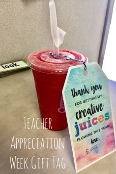 FREE Teacher Appreciation Week gift tag for a healthy teacher treat! Simple Gifts, Easy Gifts, Cute Gifts, Teacher Treats, Teacher Gifts, Pizza Ranch, Staff Gifts, Educational Leadership, Teacher Appreciation Week