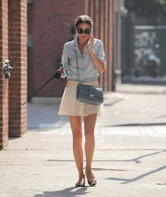 substitute a longer white skirt with the chambray shirt and animal print flats- I can do that