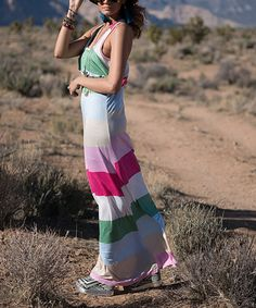 Take a look at this Mint Stripe Ruffle Maxi Dress today!