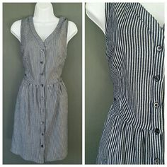 Denim Stripe Buttonup Vintage Style Dress Brand new. Small cutout in back. Dress up or down! ModCloth Dresses