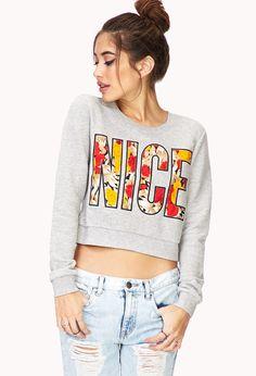 889696acbf8bb Floral Nice Cropped Sweatshirt