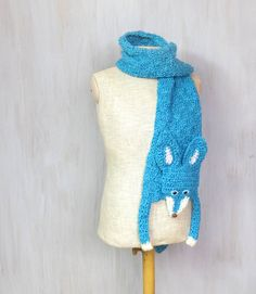 Blue fox handmade soft scarf knit knitted wrap very by Florfanka Crochet Vintage, Crochet Fox, Fox Scarf, Scarf Knit, Cute Scarfs, Knitted Animals, Knit Fashion, Beautiful Gifts, Crochet Scarves