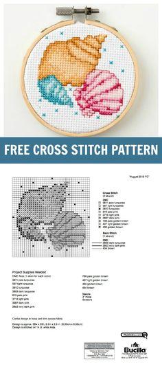 Beach Life! Download this fun and free Seashell Cross Stitch Pattern from Bucilla - such a cute mini pattern for summer!