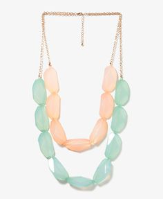 Vibrant Contrast Necklace | FOREVER21 $8..mint and baby pink outfit