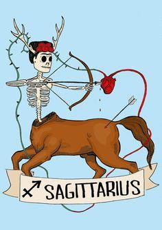 Signe du zodiaque Sagittaire FRIDA KAHLO, Limited edition, Illustration originale, Fine Art Print, cœur anatomique, le jour des morts