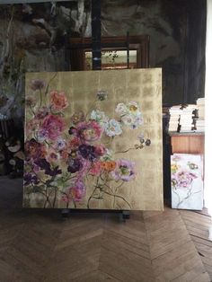 Painting on gold leaf, Claire Basler Art Feuille D'or, Abstract Flowers, Abstract Art, Studios D'art, Gold Leaf Art, Claude Monet, Art Floral, Pablo Picasso, Art Design