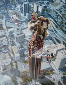 Willie B. Kong in Atlanta -  In this painting, we're looking down at the Bank of America Plaza building and the surrounding area.