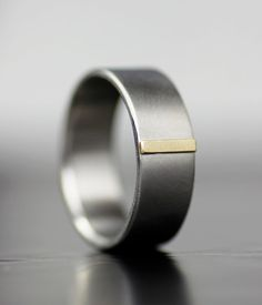 Men's wedding band  modern gold tab  unique simple by lolide