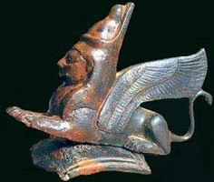 An Iberian Sphinx, or Cherub, 7th Century BCE, Cast Bronze, from the Necropolis Higuerones (Cástulo). Museum Linares. Monograph on Cástulo