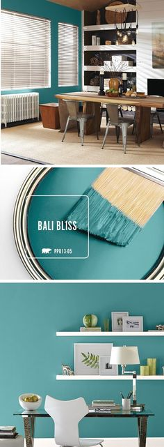 Bali Bliss is the perfect teal tone to help incorporate a chic and eclectic feel. - Bali Bliss is the perfect teal tone to help incorporate a chic and eclectic feel to your home. Living Room Paint, Living Room Decor, Living Rooms, Apartment Living, Apartment Chic, Living Walls, Apartment Furniture, Office Furniture, Living Spaces
