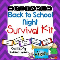 This comprehensive package contains EVERYTHING you need to welcome your new students and parents on Back to School Night while staying organized!  Many of the included forms and signs are editable so that you can customize them with your name and grade level.This 40 page pack includes the following:Pages 3-17: Table Label Tents (premade and EDITABLE)Pages 18-20: Student Goody Bags (EDITABLE)Pages 21-25: Lets Chat forms (EDITABLE)Pages 26-28: Design It (nameplates/locker/cubby tags)Pages…