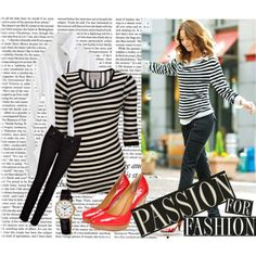 black and white striped tee, skinny black jeans and red heels